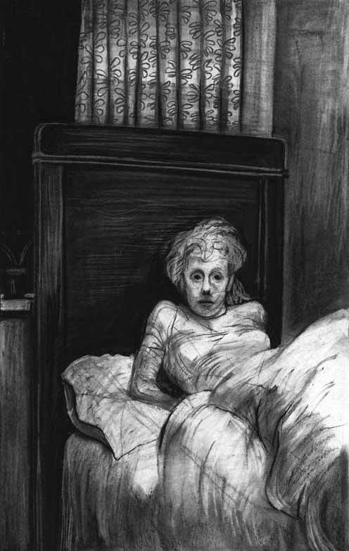 King Lear, drawing charcoal, Cordelia im Bett