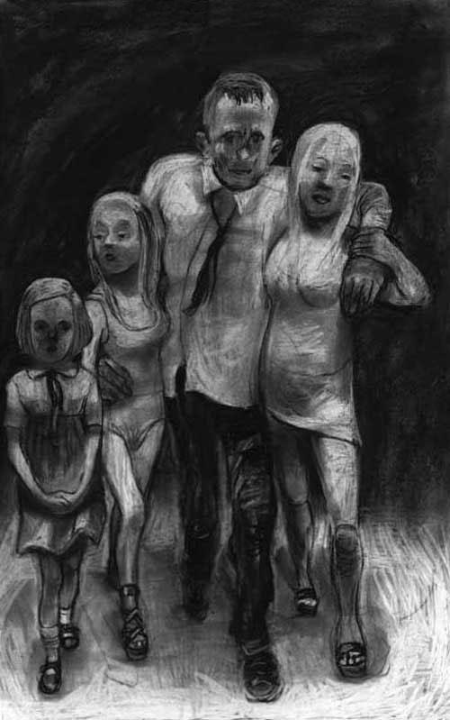 King Lear, drawing charcoal, Vater, Mutter, zwei Töchter