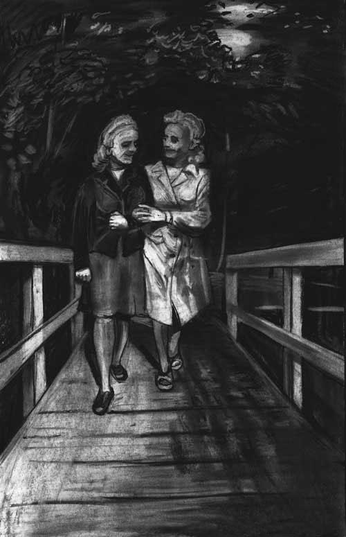 King Lear, drawing charcoal, Schwestern