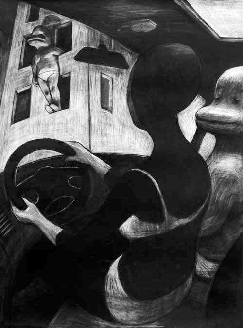 Anke Feuchtenberger, Kohlezeichnung, Superträne Serie
