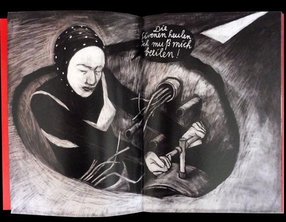 wehwehweh.superträne.de, Anke Feuchtenberger, charcoal drawing, book