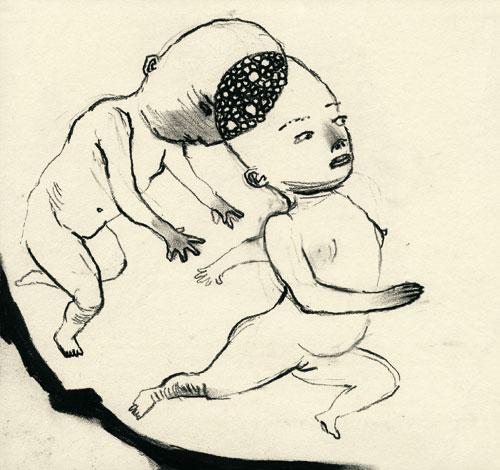Anke Feuchtenberger, Meine liebe-Toten, Zeichnung auf Papier